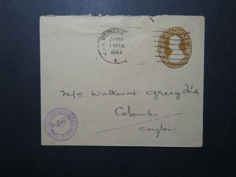India 1942 1A3P Stationery Cover to Ceylon / Bank of India Censor - Z11689