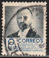 MEXICO 866, $10Pesos 1950 Definitive 1st Printing wmk 279. USED. F-VF (17)