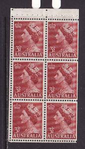 Australia-Sc.#258-unused NH booklet pane-3&1/2p dk red QEII-1953-4-