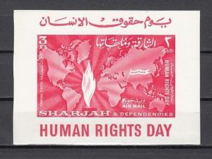 Sharjah, Mi cat. 73, BL6. Human Rights Day s/sheet.
