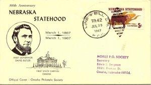 1967 Cino & Bill R.P.O. Railway Post Office + Nebreska State Hood Cachet #107