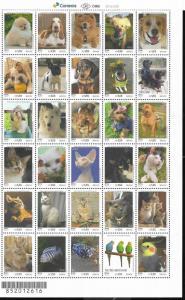 BRASIL BRAZIL 2018 UPAEP AMERICA FAUNA DOGS CATS,BIRDS FISHES,PETS MINISHEET MNH