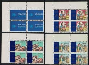 Kenya 40th Anniversary of WHO 4v Top Left Corner Blocks of 4 SG#463-466