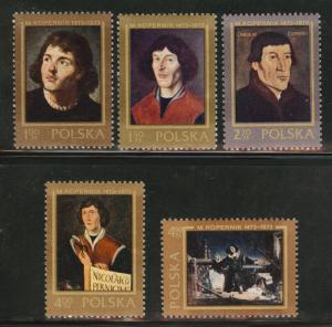 Poland Scott 1956-60 MNH** 1973 Copernicus stamp set