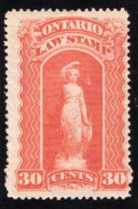 van Dam OL49, Canada, Ontario, MLHOG, Law Stamp, 30c, blue C, p.12
