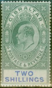 Gibraltar 1903 2s Green & Blue SG52 Fine & Fresh Lightly Mtd Mint (7)
