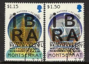 MONTSERRAT SG1130/1 1999 IBRA 99 INTERNATIONAL STAMP EXHIBTON FINE USED
