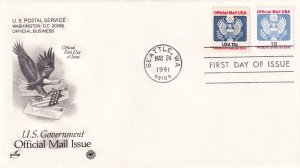 1991, 13c & 19c Official Mail Issue, Art Craft/PCS, FDC (E11329)