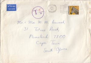 Zimbabwe - Cover to Cape Town - 1983 - Surcharged