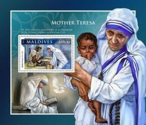 Maldive Islands 2016 MOTHER TERESA s/s Perforated Mint (NH)