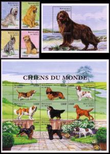 Mali Dogs 4v+Sheetlet of 9v+MS COMPLETE MI#1712-1724+Block 100 SC#816-827