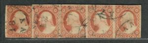 US Sc#11a Used, Reconstructed Strip Of 5-Rare Pos #26-30R2L