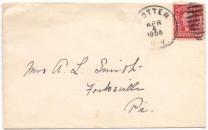 US#319 Carmine - Type I - On Cover from D.P.O. Potter, N.Y.