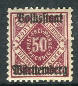 WURTTEMBERG;  1919 Official VOLKSSTAAT Optd. mint hinged 50pf. SP-245365