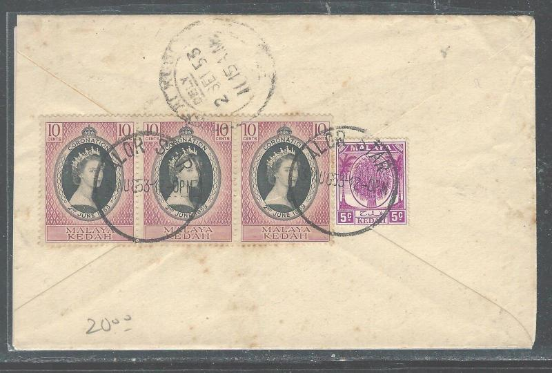 MALAYA KEDAH (P2508B) 1953 10C+ QEII CORONATION X3  ON COVER
