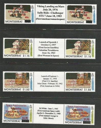 Montserrat MNH sc# 847-50 Space Gutter Pairs with Labels