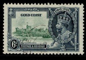GOLD COAST GV SG115, 6d green and indigo, FINE USED. Cat £30.