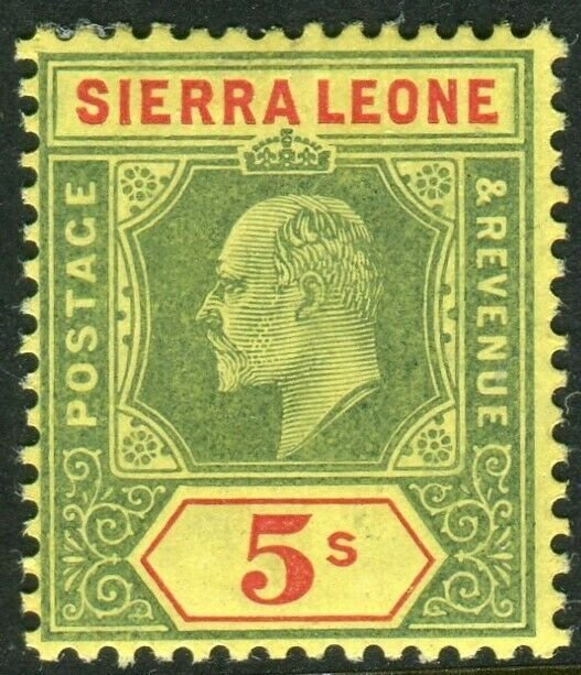ST LUCIA-1907 5/- Green & Red Yellow. A lightly mounted mint example Sg 77