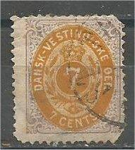DANISH WEST INDIES, 1874, used 7o, Arms. Scott 9