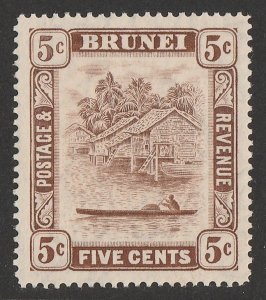 BRUNEI : 1924 View 5c brown 'retouch 5' variety. MNH **.