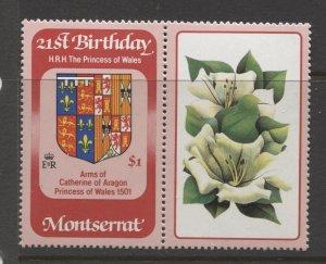 STAMP STATION PERTH Montserrat #485+Label Princess Diana 21st Birthday MNH 1982