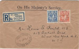 St. Lucia, Scott #140-141, Used on 1950 Registered Cover to New Jersey