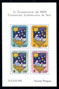 [72428] Paraguay 1961 Sport Tennis Imperf. Sheet MNH