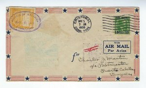 CRISTOBAL CANAL ZONE - MAY 5 1930 - ROUND TRIP AIR MAIL COVER - C42