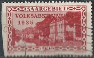 Saar 148 (used, clipped at left) 90c view of Saar Valley, plebiscite issue