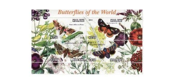 Malawi - Butterflies - 4 Stamp  Sheet 13K-156