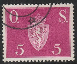 Stamp Norway Official Sc O058 1951 Dienst Coat Arms Used