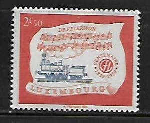 LUXEMBOURG, 356, MINT HINGED, LOCOMOTIVE AND HYMN