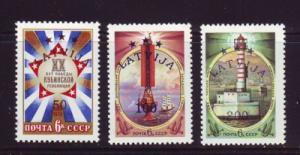 Latvia Sc 340-2 1993 LATVIJA overprints on USSR stamps stamp set mint NH