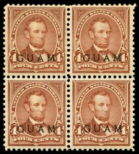 momen: Guam Stamps #4 Mint OG NH Block of 4 PF Cert XF