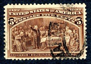 US #234 – 1893 5c Columbian Commemorative.  Used VF