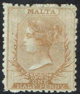 MALTA 1863 QV 1/2D WMK CROWN CC PERF 12.5