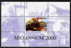 Turkmenistan 2000 Millennium perf souvenir sheet (Train, ...