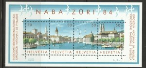 Switzerland, 1984 NABA Stamp Exhibit Souvenir Sheet, MNH, no faults