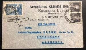 1935 Buenos Aires Argentina Airmail Cover To Boblingen Germany Klemm Airplanes