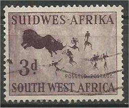 SOUTH WEST AFRICA, 1954, used 3p, Rock Painting Scott 251