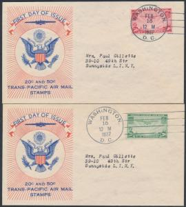 #C21-C22 TRANS-PACIFIC AIRMAIL FDC CACHET GOING TO SAME PERSON BS408