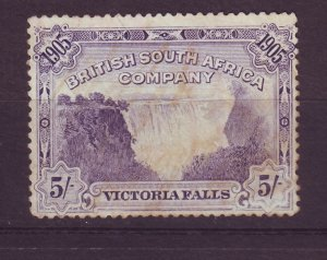 J24549 JLstamps 1905 rhodesia mng #81 5sh victoria falls, stains creased $50.00v