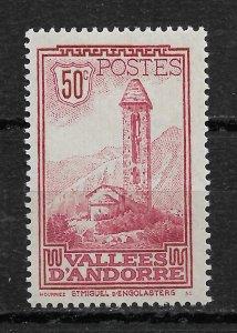 French Andorra 1932, Scott # 37, 50c,VF MVLH*OG (FR-1)