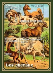 Central Africa - 2021 Horses on Stamps - 4 Stamp Sheet - CA210320a