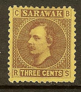 Sarawak, Scott #2, 3c Brooke Issue, MH