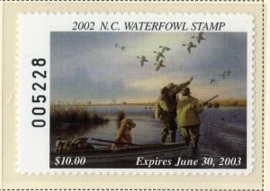 US NC20 NORTH CAROLINA ST DUCK STAMP 2002  MNH SCV $20.00 BIN $10.00