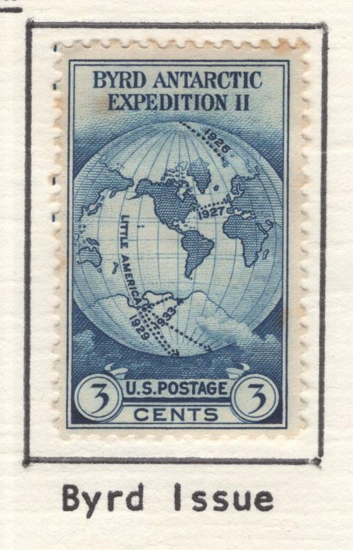 US 1933 BYRD Issue 3c Stamp Scott 733 NG MH
