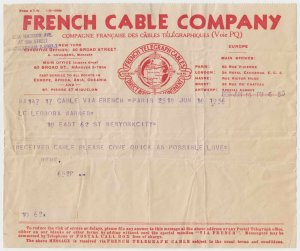FRANCE 1935-55 TELEGRAM TWO FRENCH CABLE COMPANY FORMS SHADES USED