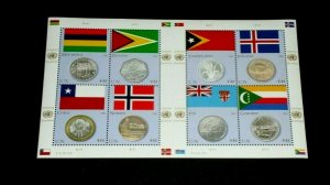 U.N. 2011, NEW YORK #1022, FLAG & COIN ISSUE, MNH, SHEET/8, NICE LQQK