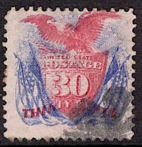 US Stamp #121 USED SCV $375. Unobtrusice Fancy Cancel.